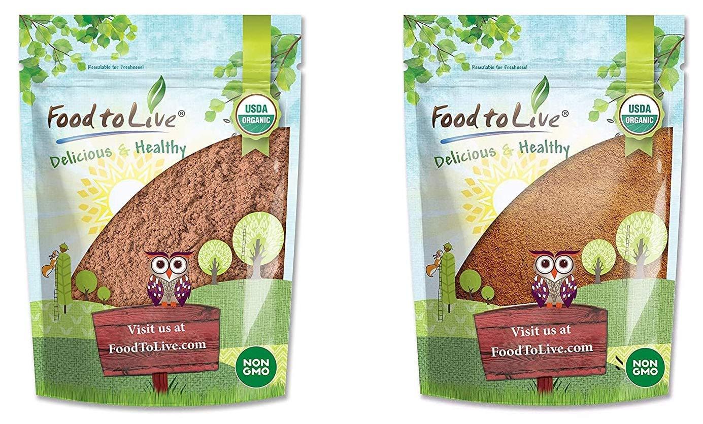 Organic Cocoa and Cacao Powders Bundle - Organic Cocoa Powder, 8 Ounces and Organic Cacao Powder, 8 Ounces - Non-GMO, Kosher, Vegan, Unsweetened