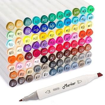 Shuttle Art - 88 rotuladores permanentes de colores y de doble punta con estuche - Perfectos para ilustraciones, colorear dibujos y tarjetas de ...