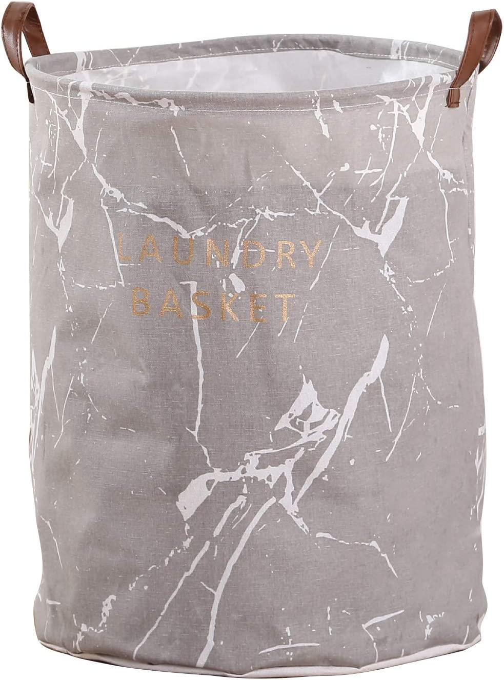 Remelon Home Large Waterproof Laundry Basket Laundry Hamper Collapsible Round Cotton Linen Clothes Laundry Bucket with Handles Marble Printing Household Organizer Basket Gray