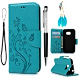 Galaxy S7 Active Wallet Case (not fit Galaxy S7), Galaxy S7 Active Case, PU Leather Embossed Flower Kickstand Flip Case Card Slots Wrist Strap Protective Cover for Samsung Galaxy S7 Active, Blue