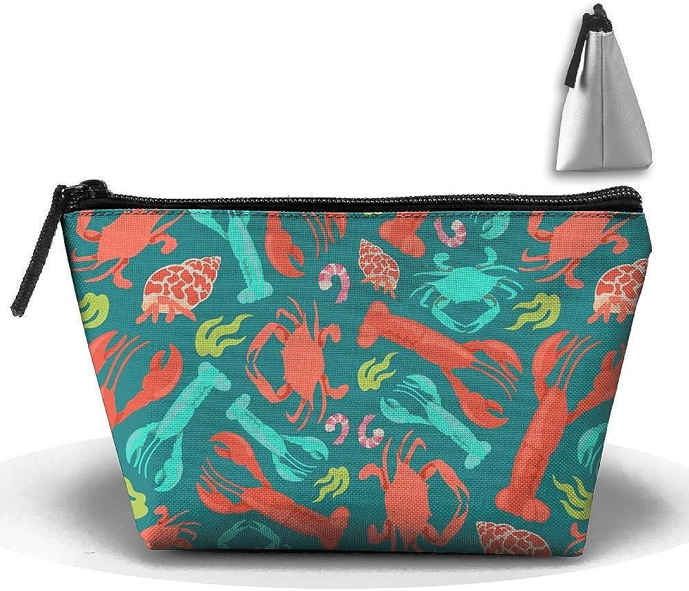 Lobster Crab Shrimp Multifunction Portable Pouch Trapezoidal Storage Organizer Bag