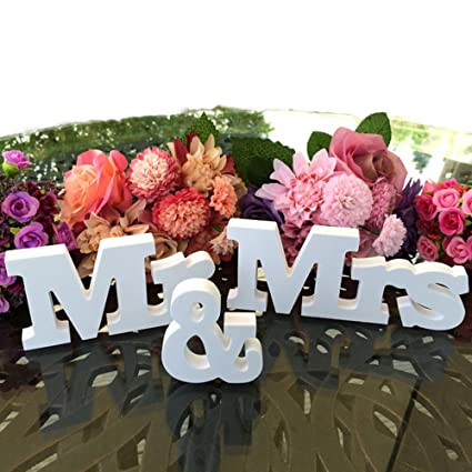 Amazon.com: Mr & Mrs - Letrero de boda para decoración de ...