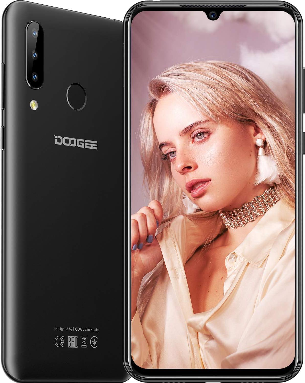 DOOGEE N20 (2019) SIM Móvil Libres, Helio P23 Octa-Core 4GB RAM 64GB ROM, 6.3 Pulgadas FHD + Waterdrop Pantalla Android 9.0 4G Smartphone, 16MP + 8MP + 8MP + 16MP, 4350mAh, 10W Carga Rápida Negro
