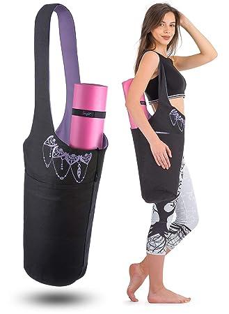 Yoga Mat Bolsa - elegante y bordado algodón bolsa con 2 ...