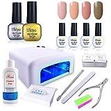 Ukiyo 4PCS Base e Top Coat Soak Off Gel Smalto per Unghie, Kit Starter Set professionale per Nail Art Manicure strumenti fai da te a casa