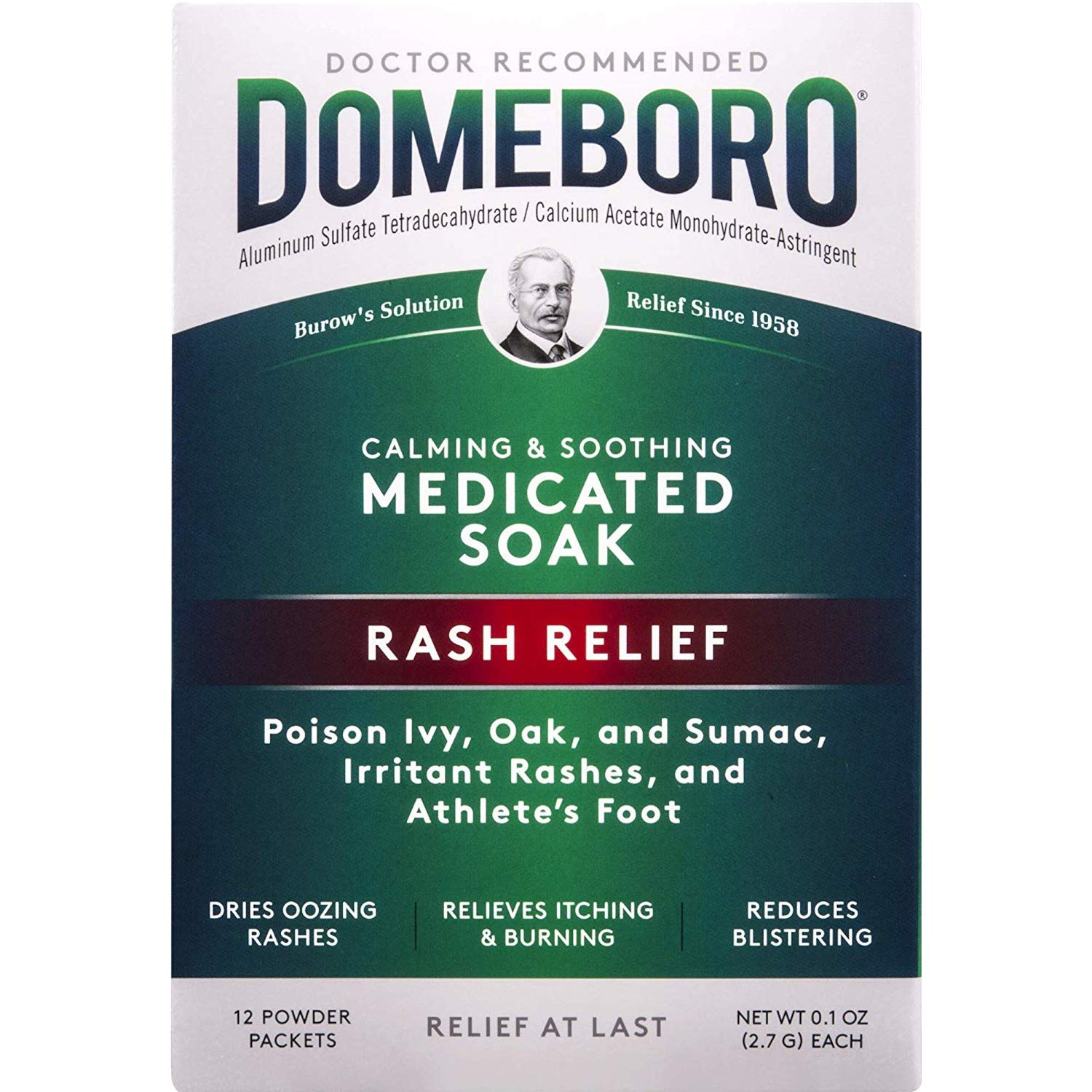 Domeboro Soothing Soak Rash Relief Powder Packets, 12 each (Pack of 4) by Domeboro