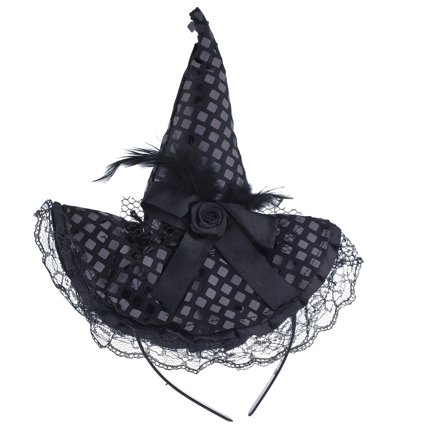 c5bba58573a Lux Accessories Halloween Black Lace Flower Feather Witch Hat Headband   Amazon.co.uk  Jewellery