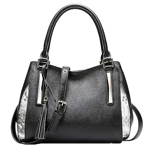 d5dd3acf21d7 Heshe Womens Leather Handbags Vintage Shoulder Bag Tote Top Handle Bag  Designer Ladies Purses Crossbody Handbag (Black)  Amazon.ca  Shoes    Handbags