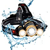 BenRan Best Headlamp-6000Lm flashlight-IMPROVED LED,Zoom Light with Rechargeable 18650,Bicycle Bike Helmet Headlight,Hunting flashlights Waterproof Bright Head Hard Hat Lights, Running or Camping head