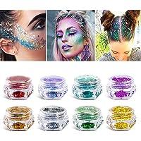 Purpurina cosmética de maquillaje para cuerpo cara pelo y uñas – 8 cajas de pigmentos gruesos de purpurina suelta para festivales y FIESTAS DE NAVIDAD – SÓLO INCLUYE LA PURPURINA