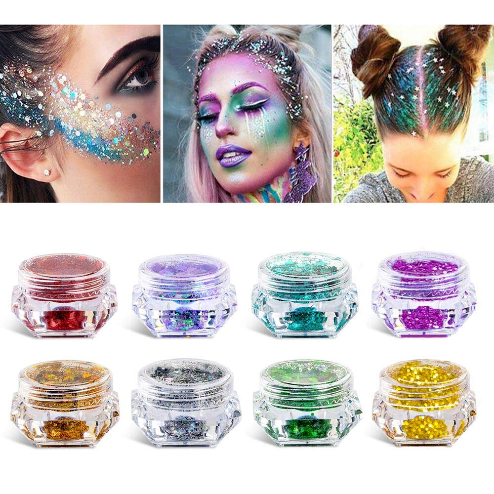 8 Boxes Makeup Face Body Glitter Set  6 Colors Holographic Cosmetic Festival Chunky Glitter  Mixed Shape Flakes Pigments for Halloween  Face  Eye  Body  Hair  Nail and Other Occasions Decoration