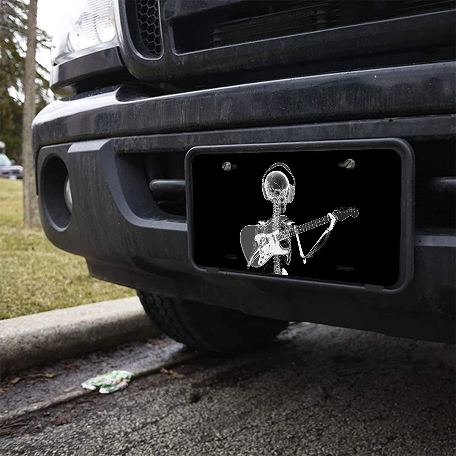 Amcove Abstract x-ray Skull Skeleton in Headphones Playing Guitar Design Art Novelty Vanity License Plate Tag Sign,6 X 12 Inch