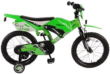 Bicicleta de niño 4 5 6 años de 16 pulgadas de motocross con las ruedas verdes: Amazon.es: Deportes y aire libre