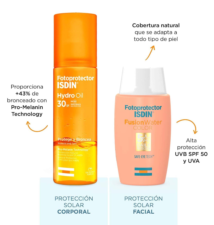 ISDIN PACK Protector Solar Facial Fusion Water Color SPF 50+ | Protector Solar Corporal Hydro Oil SPF 30, Protege y Broncea hasta un +43%: Amazon.es: Belleza