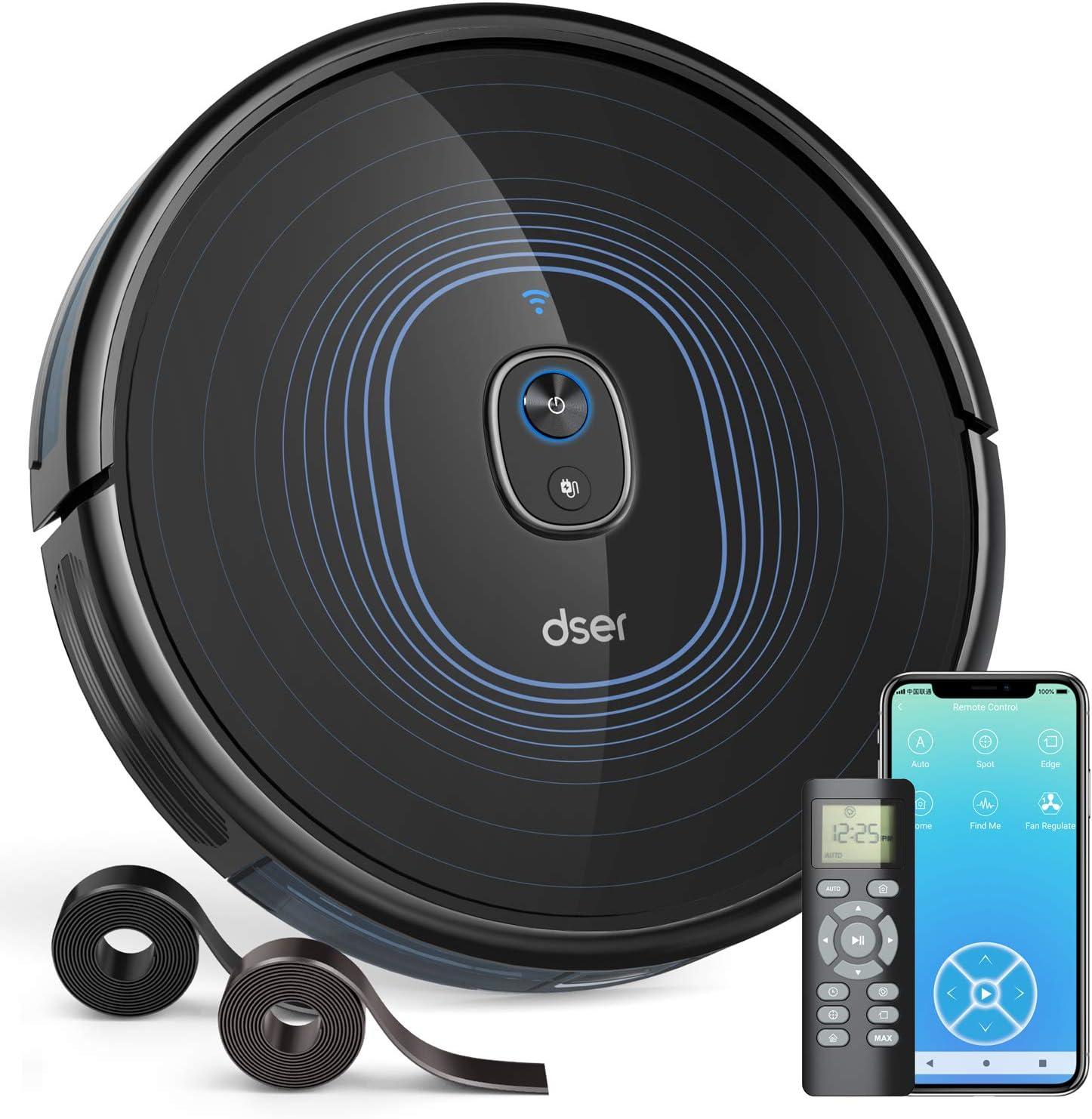Dser Aspiradora robótica, 23T 2200 Pa, conexión Wi-Fi, 2 Bandas delimitadores, autocarga, múltiples Modos de Limpieza Aspiradora para alfombras de Piso Duro y Pelo de Mascotas, Funciona con Alexa