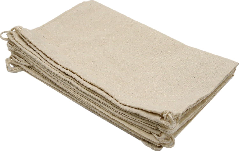 100%コットン ムスリン 巾着袋、収納用 パントリー ギフト用 12パック 14 x 17 inch6 pack SL178-13 B01N21KKYN 14 x 17 inch6 pack|ホワイト ホワイト 14 x 17 inch6 pack