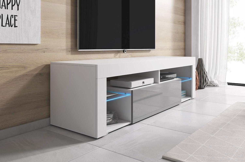 E-com Titan Meuble TV Bas Blanc//Gris 140 cm