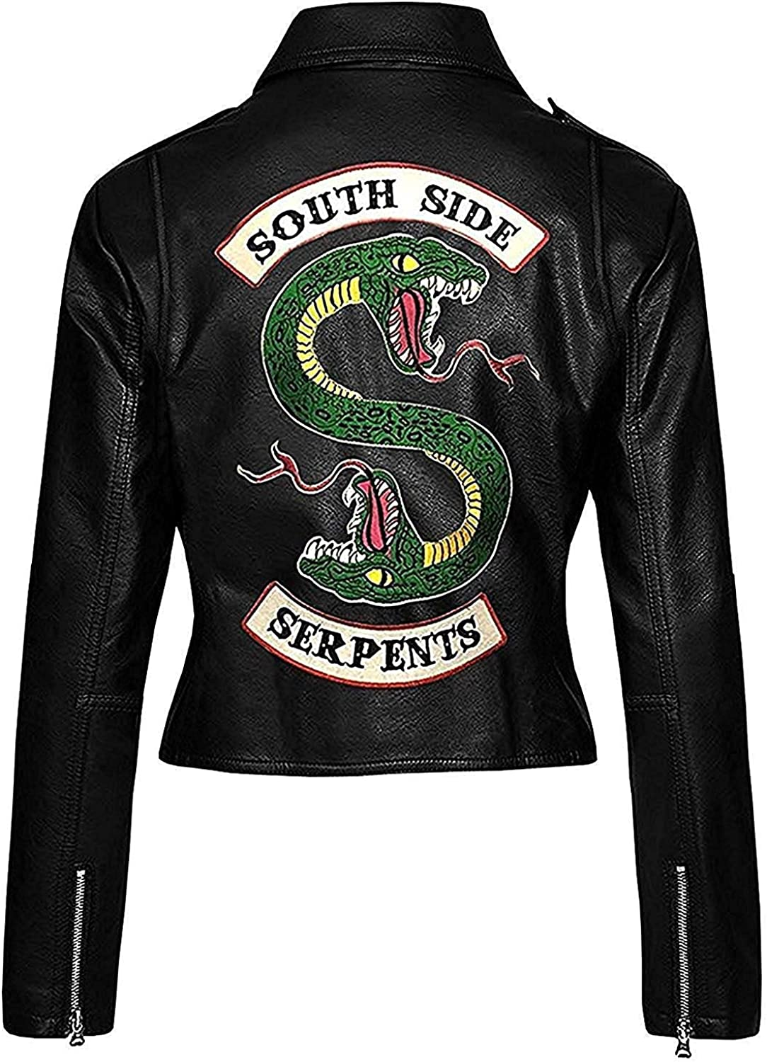 wowstore Women Red//Black Riverdale Southside Serpents Cheryl Blossom Biker Faux Leather Jacket