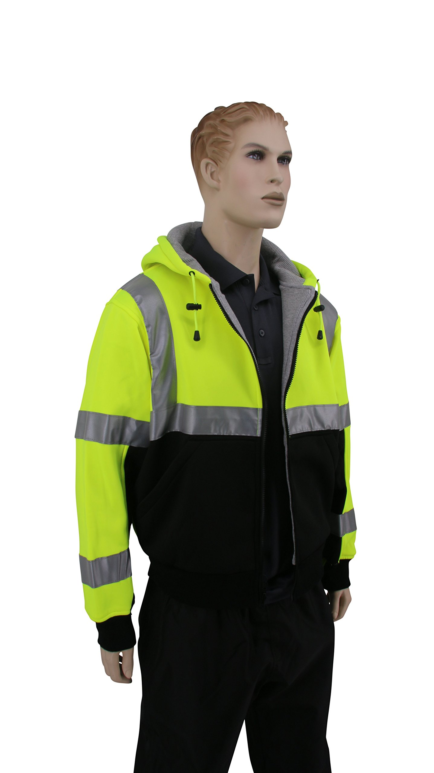 Brite Safety Style 5010 Hi Viz Sweatshirts for Men or Women   Safety Hi Vis Hoodie, 2-Tone Sweatshirt   Thermal Liner, Full Zip 16oz, with 3M Reflective Tape   ANSI 107 Class 3 (4XL) by Brite Safety (Image #3)