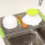 Catchin24 Stainless Steel Kitchen Sink Crockery Vegetable Wash Utensils Drain Rack 19 Inch
