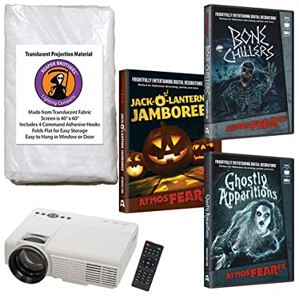 virtual halloween led projector value kit window decoration includes atmosfear fx halloween videos ghostly apparitions