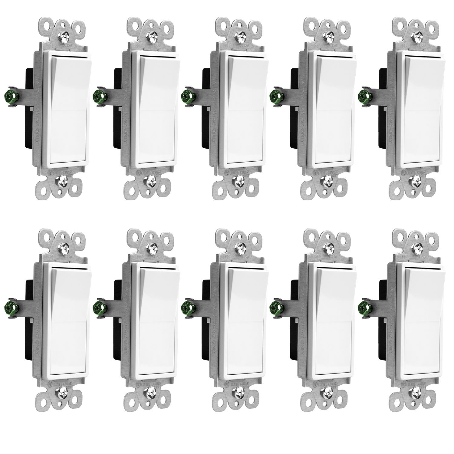 Enerlites Three Way Light Switch On Off Rocker 93150 W Wiring A 3 Single Pole 15 Amp And 120v 277v Paddle Ac Wire Grounding Screw