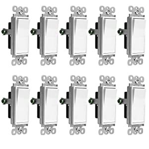 ENERLITES 3-Way Decorator Paddle Rocker Light Switch, Single Pole or Three Way, 3 Wire, Grounding Screw, Residential Grade, 15A 120V/277V, UL Listed, 93150-W-10PCS, White (10 Pack)