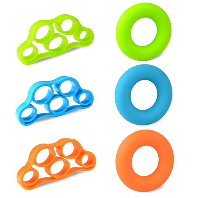Amazon.com : LINPOZONE 6 Pack Forearm Trainer Rings and Finger Resistance Bands Stretcher for Guitar, Rock Climbing and Hand Exercise : Sports & Outdoors