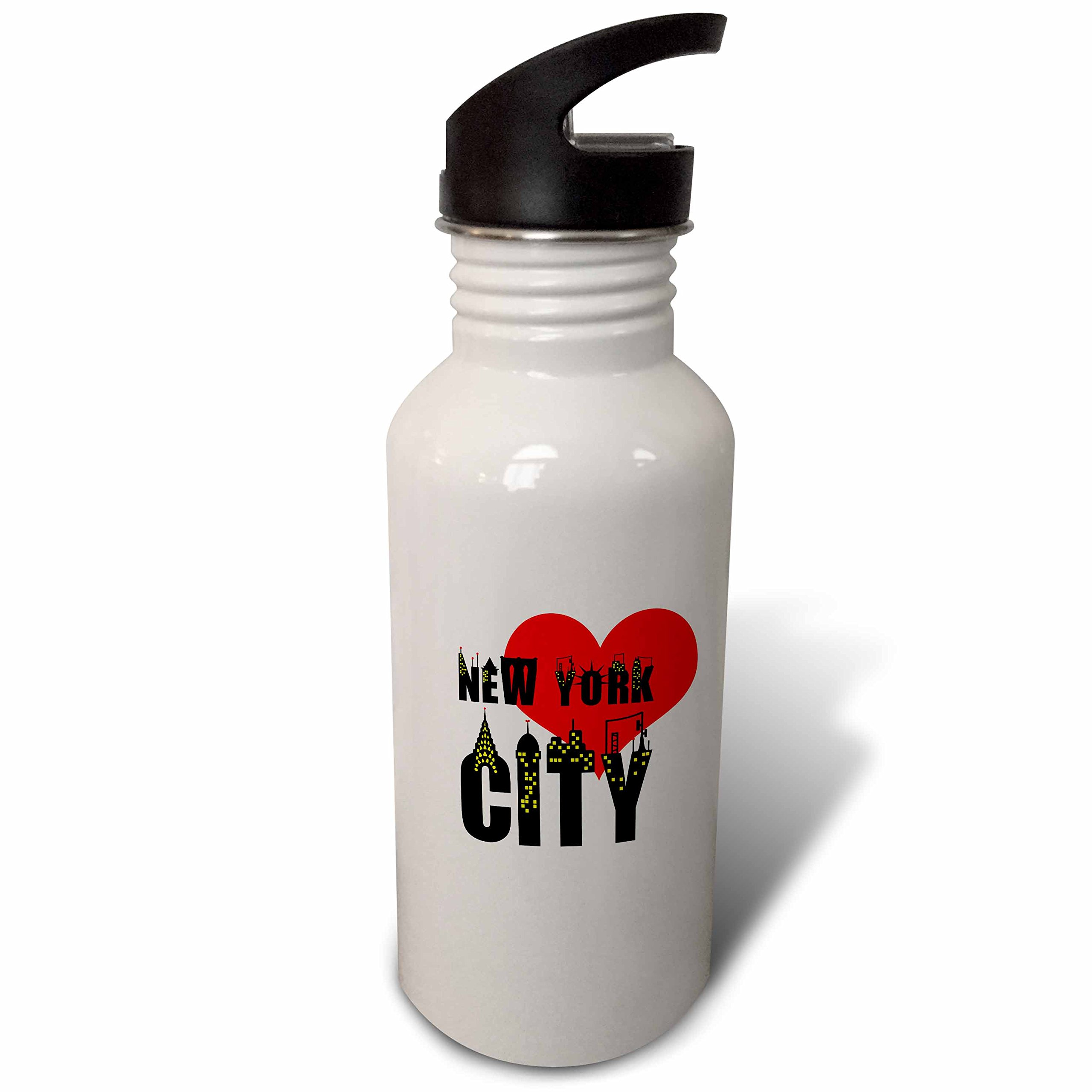 3dRose Alexis Design - American Cities - Stylish text New York City, red heart, shining windows on black - Flip Straw 21oz Water Bottle (wb_286453_2)