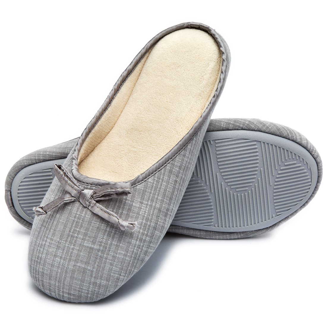 Cozy Niche Women's Closed Toe Knitted Stripe Memory Foam House Slippers With Cute Bow, Perfect For Spring and Summer (9-10 B(M) US, Gray)