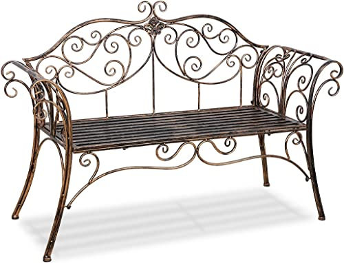Antique Bronze Metal Garden Bench Chair 2 Seater