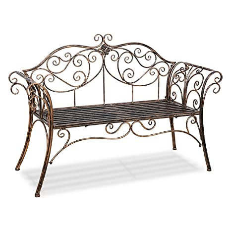 Enjoyable Timberlion Metal Antique 2 Seater Garden Bench Outdoor Indoor Patio Garden Chair With Ornamented Backrest Beatyapartments Chair Design Images Beatyapartmentscom
