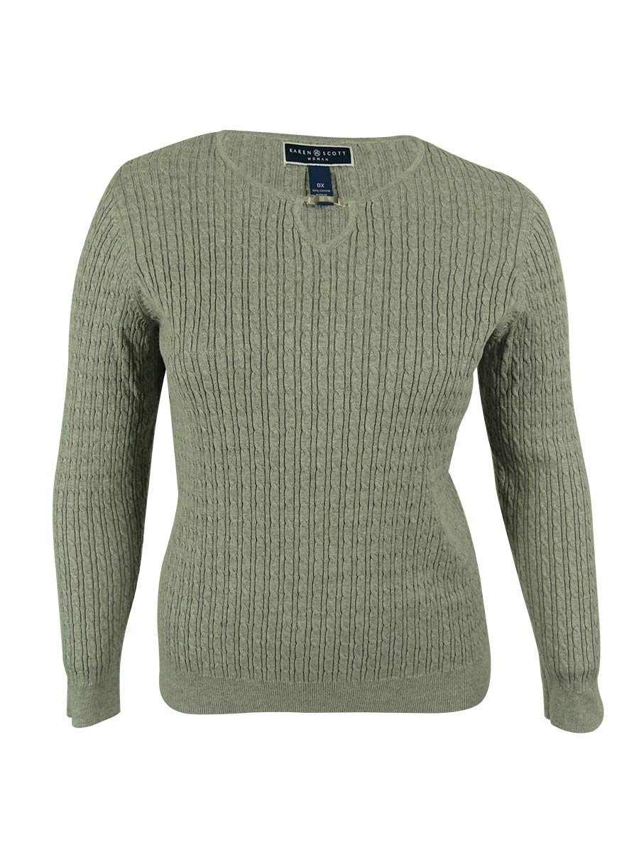Karen Scott Womens Plus Cable Knit Heathered Pullover Sweater Gray 0X