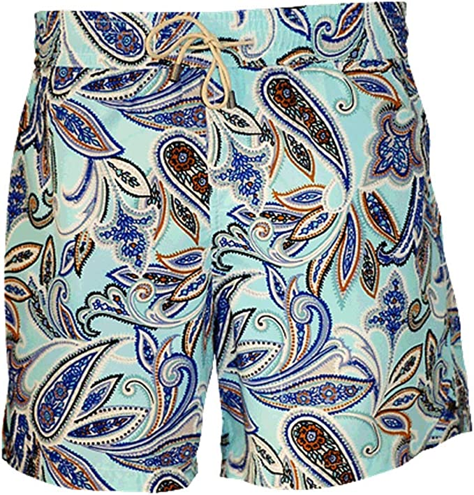 Bayahibe Swimwear Shorts Slim Fit Quick Dry French Swim Trunk for Men and Boys with Blue Paisley Print