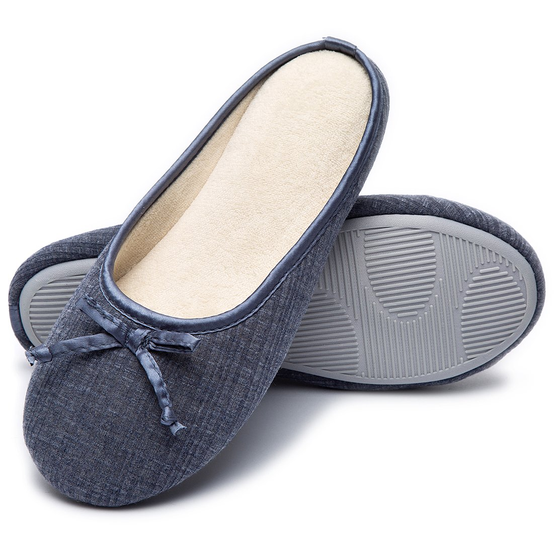 Cozy Niche Women's Closed Toe Knitted Stripe Memory Foam House Slippers With Cute Bow, Perfect For Spring and Summer (7-8 B(M) US, Navy Blue)