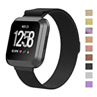 for Fitbit Versa Band, Luxury Metal Stainless Steel Magnetic Milanese Adjustable Replacement Bands Fitness Sport Strap for Fitbit Versa Wristbands