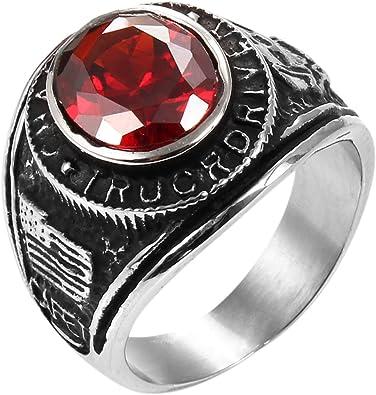 JewelryWe Vintage estilo motorista de acero inoxidable banda de anillo para hombre, Compromiso, Boda (con bolsa de regalo)