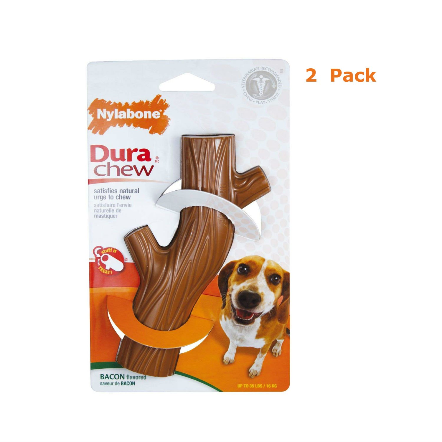 Nylabone Dura Chew Hollow Stick, Bacon Flavor - Pack Of 2