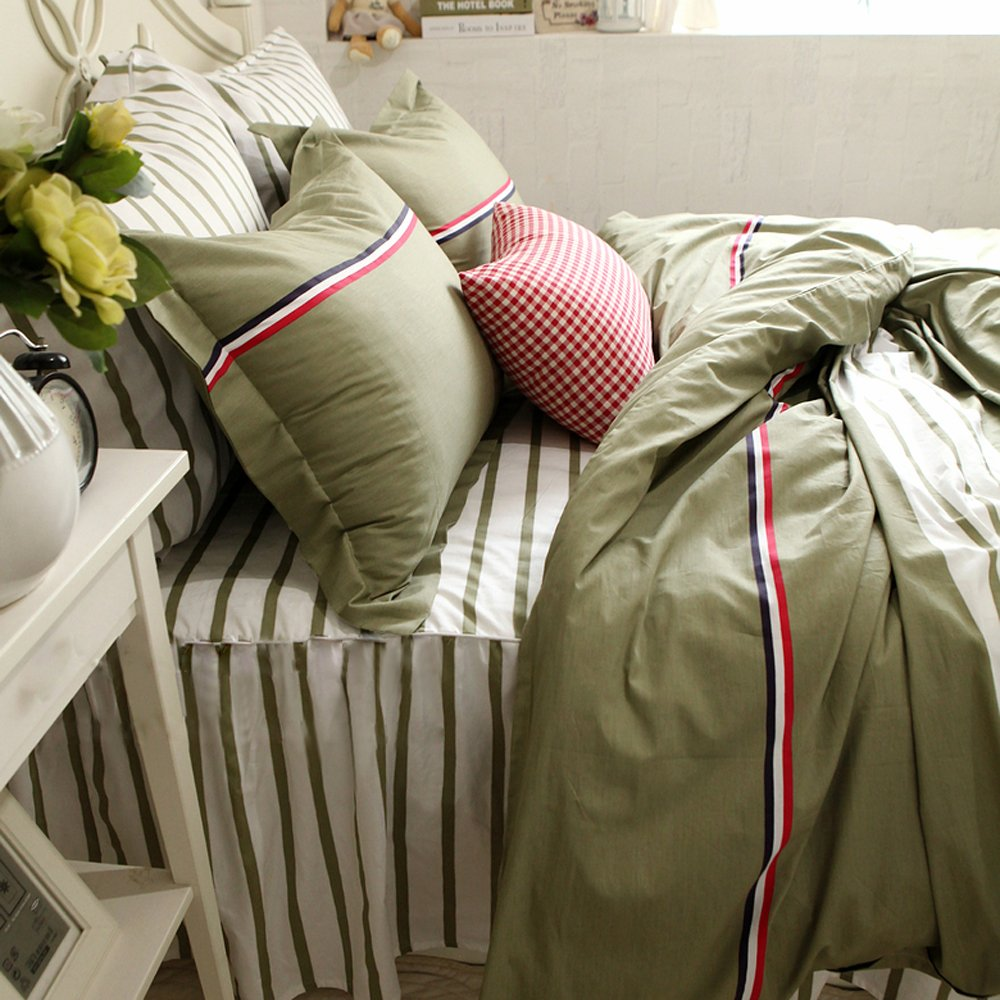 TideTex Classic Stripe Modern Style Bedding Set 4pc Fashion Teens College Dorm Duvet Cover Set Stripe Bed Skirt Simple Retro 100% Cotton Home Textiles (Full, Green)