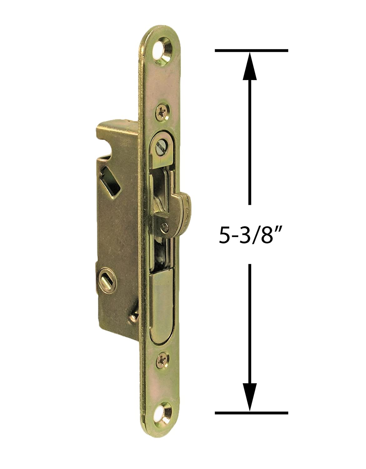 "FPL #3-45-S Sliding Glass Door Replacement Mortise Lock with Adapter Plate,  5-3/8"" Screw Holes, 45 Degree Keyway- YZD Plating"
