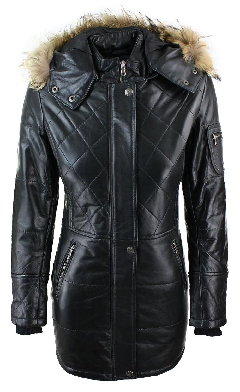 Damenjacke 100% Echtleder Schwarz Fell Kapuze Parka Design Winterjacke   Amazon.de  Bekleidung e753bd1d95