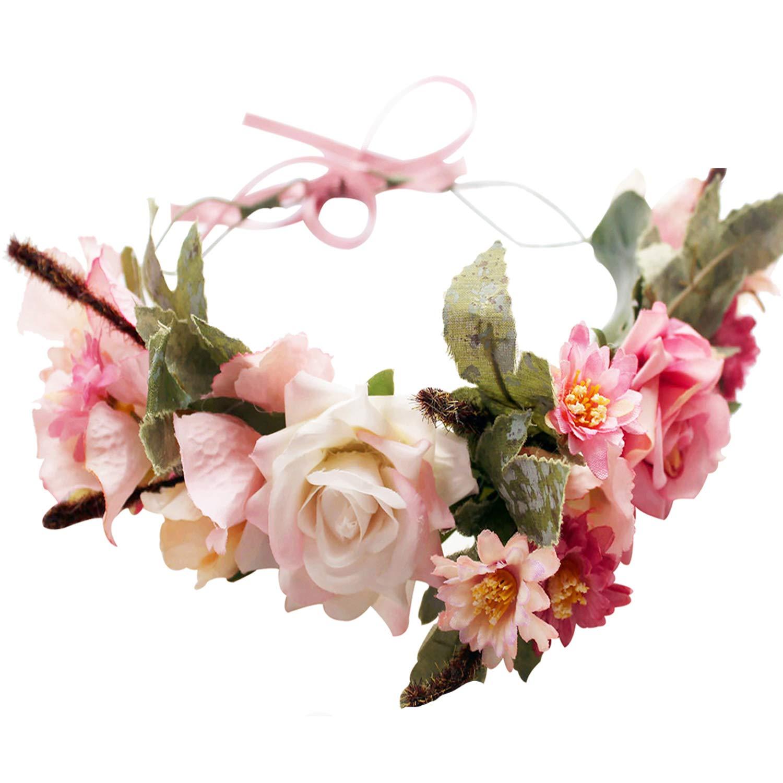 Handmade Boho Flower-Headband Flower-Crown Hair Wreath Halo Garland Headpiece with Ribbon Festival Wedding Party