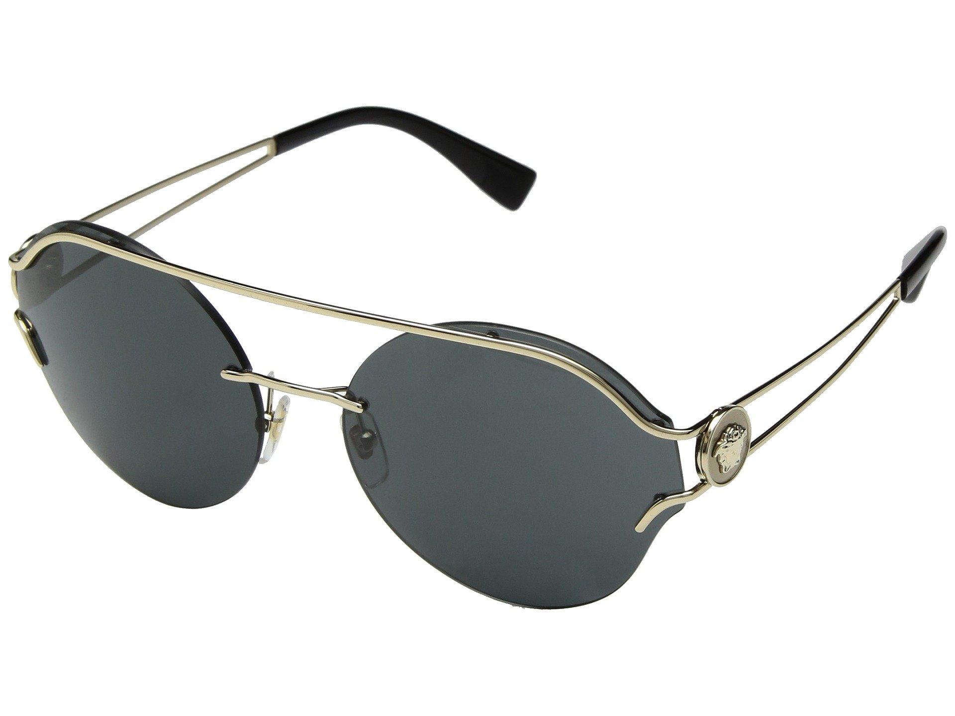 Versace Womens Sunglasses Gold/Grey Metal - Non-Polarized - 61mm