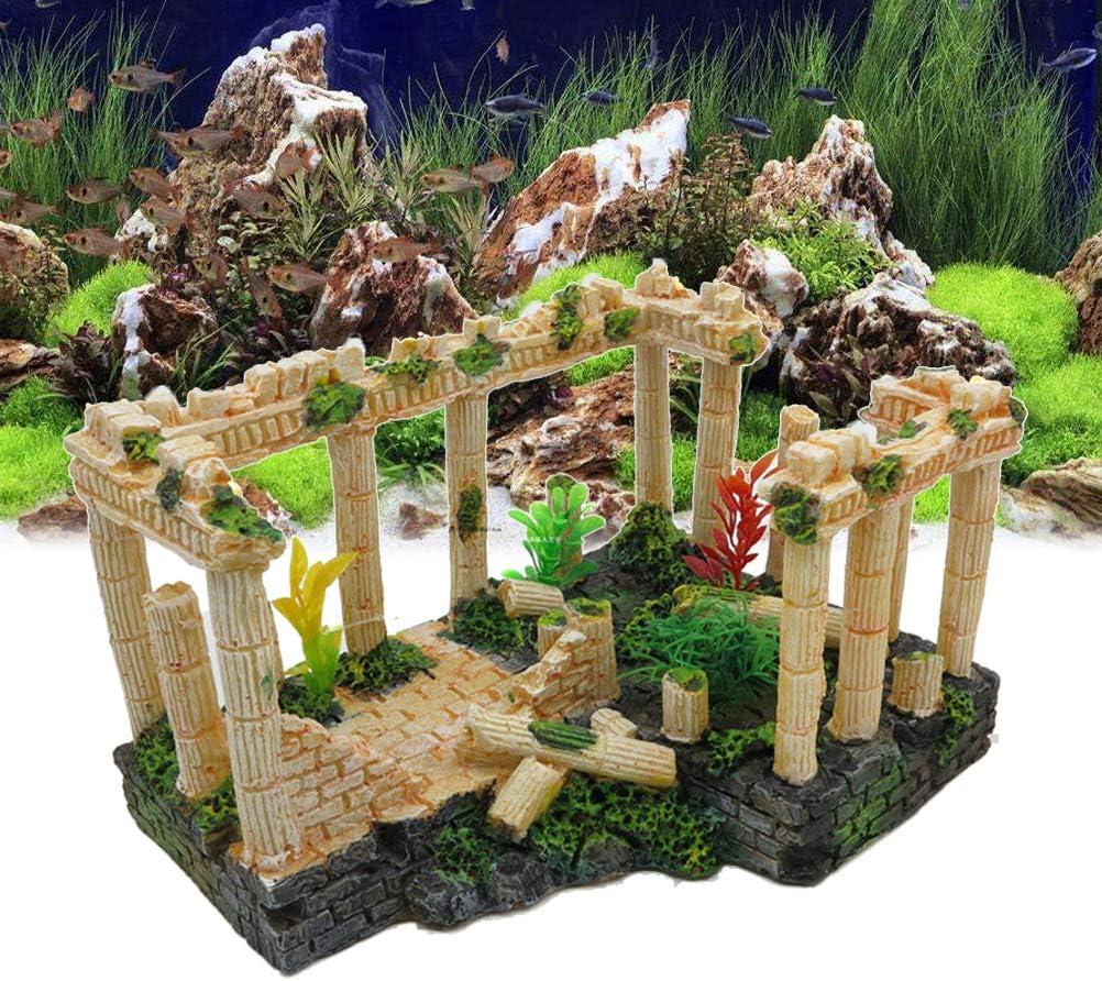 POPETPOP Resin Aquarium Decorations-Fish Tank Decorations Antique Roman Column Ruins European Castle Ornaments Large