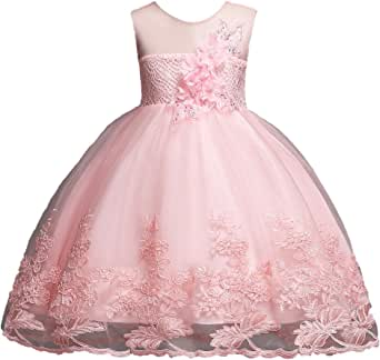 1-12 Years Girls Dress Sequin Lace Wedding Party Flower Dress