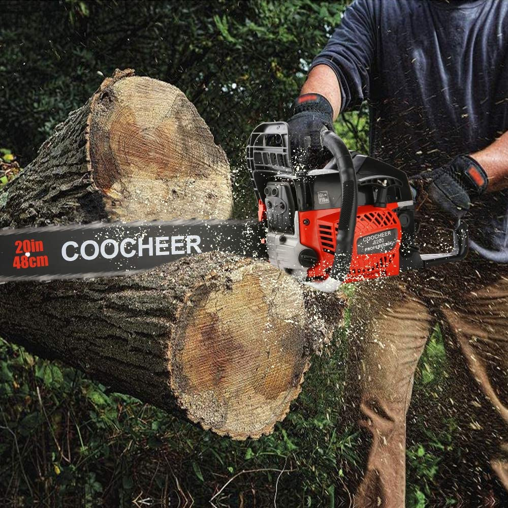 Garden and Ranch Red Black 35/_Inch Chainsaw for Farm COOCHEER 62CC Gas Chainsaws 3.5HP Guide Board Chainsaw Gasoline Powered Handheld Cordless Petrol Gasoline Chain Saw