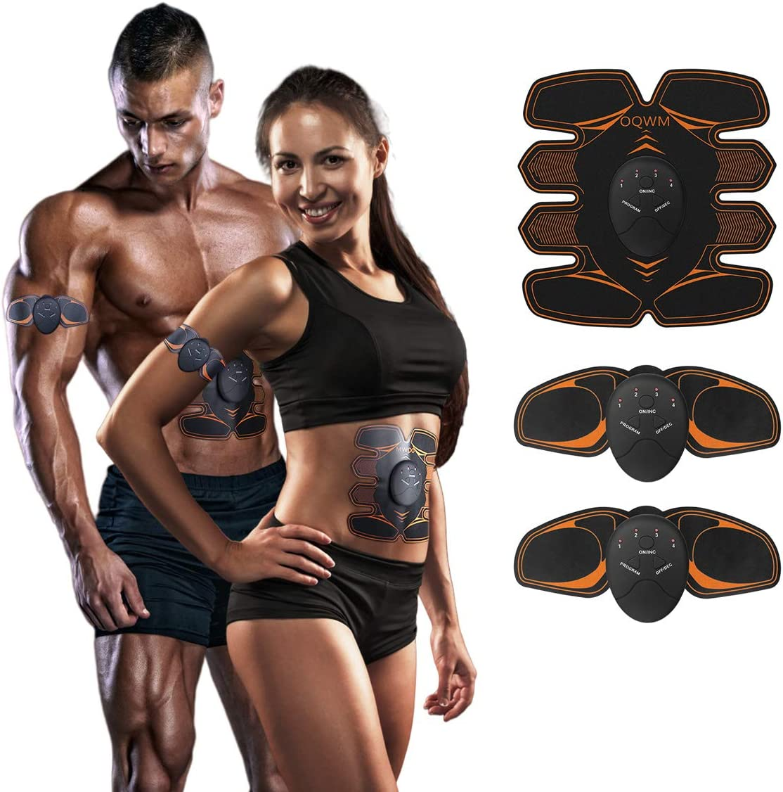 A-TION 8PCS Abs Stimulator Abdominal Muscle EMS Hip Trainer Toning Belt Waist
