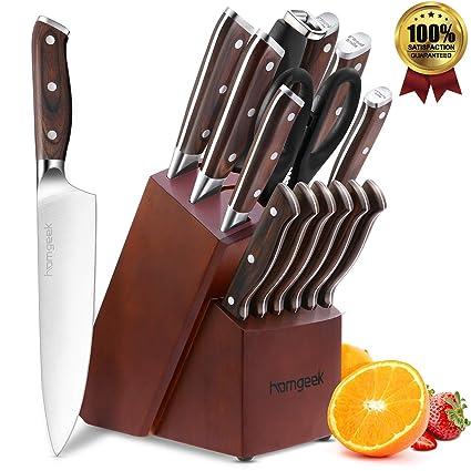 homgeek Cuchillo de cocina,Juego de cuchillos de cocina de 15 piezas con bloque de madera y con cuchillas de acero inoxidable de alto contenido en ...