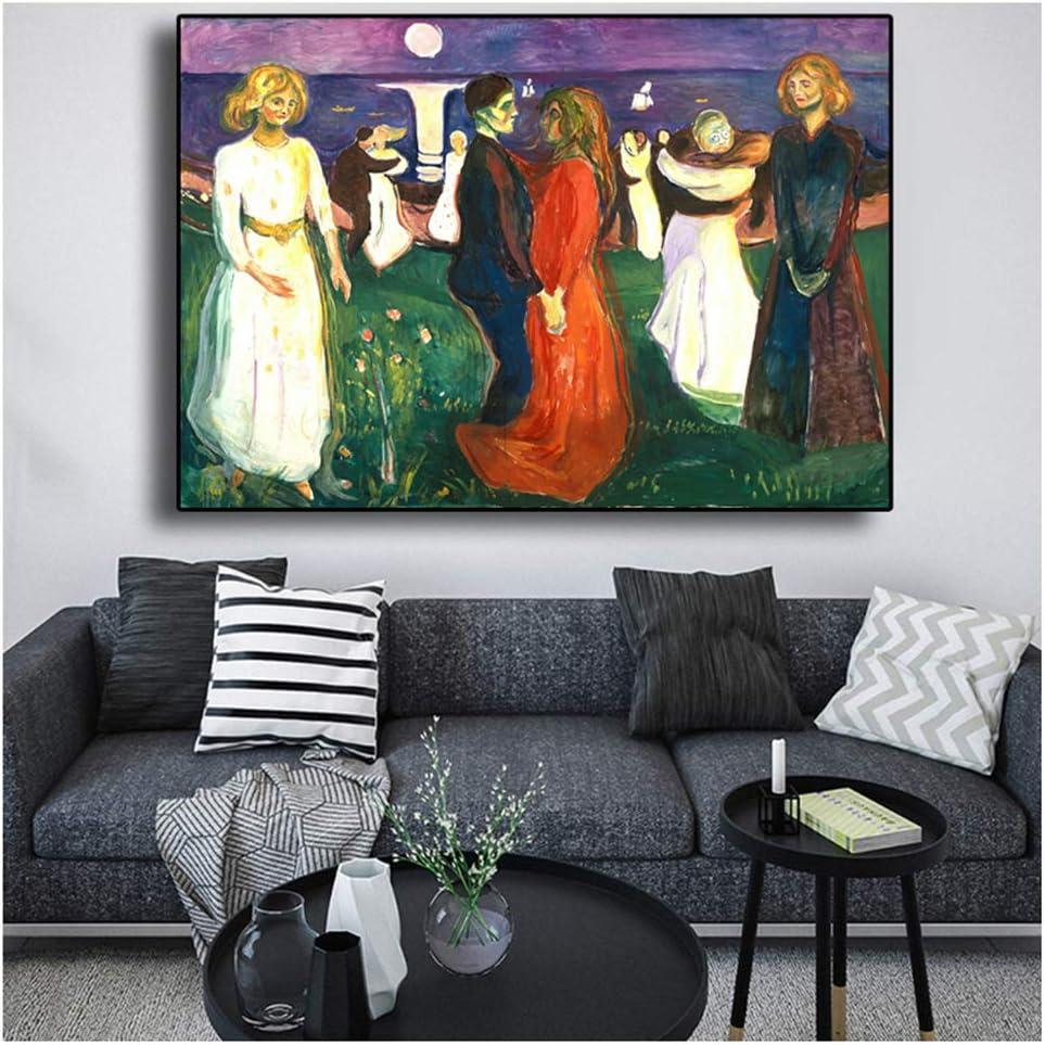 nr Dance of Life Edvard Munch Pintura al óleo Abstracta sobre Lienzo Arte Carteles e Impresiones Cuadro de Pared para la decoración de la Sala de estar-50x70cm sin Marco