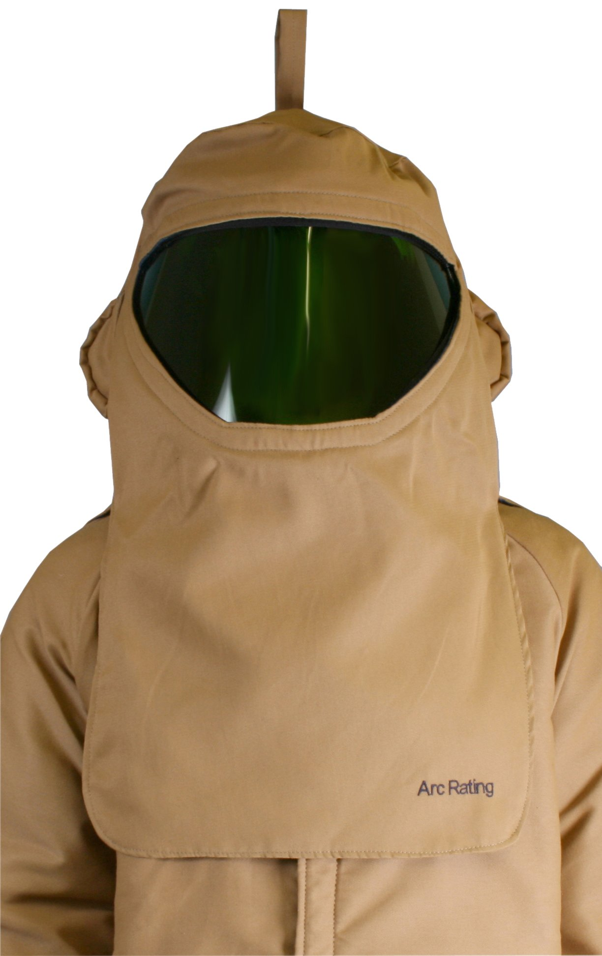 National Safety Apparel H65LIQTFAN40 ArcGuard Arc Flash CrossVent Hood with Hard Hat and Internal Fans, 40 Calorie, One Size, Khaki